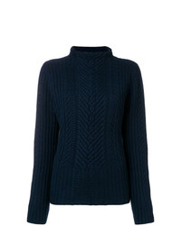 Pull à col roulé en tricot bleu marine Hemisphere