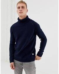 Pull à col roulé en tricot bleu marine Jack & Jones
