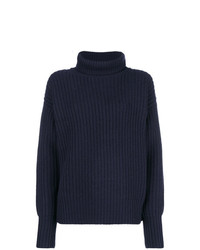 Pull à col roulé en tricot bleu marine Joseph