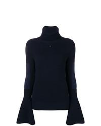 Pull à col roulé en tricot bleu marine Lanvin