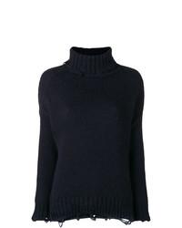 Pull à col roulé en tricot bleu marine Maison Flaneur