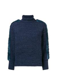 Pull à col roulé en tricot bleu marine Maison Père