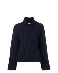 Pull à col roulé en tricot bleu marine MRZ