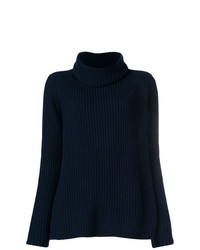 Pull à col roulé en tricot bleu marine Odeeh