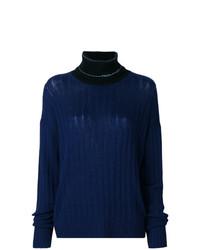 Pull à col roulé en tricot bleu marine Prada