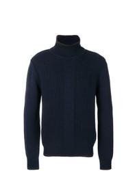 Pull à col roulé en tricot bleu marine Salvatore Ferragamo