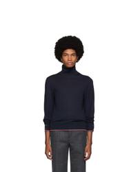 Pull à col roulé en tricot bleu marine Thom Browne
