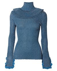 Pull à col roulé en tricot bleu Chloé