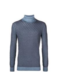 Pull à col roulé en tricot bleu Gabriele Pasini