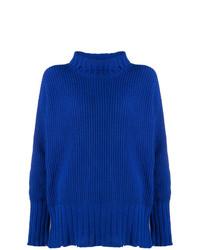 Pull à col roulé en tricot bleu MSGM