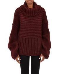 Pull à col roulé en tricot bordeaux