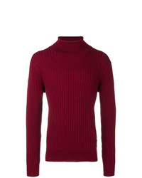 Pull à col roulé en tricot bordeaux Calvin Klein