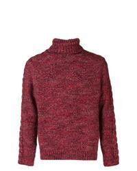 Pull à col roulé en tricot bordeaux Jeckerson