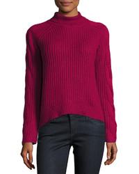 Pull à col roulé en tricot fuchsia