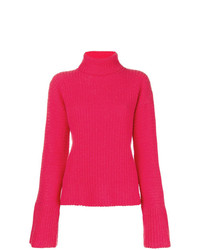 Pull à col roulé en tricot fuchsia Lamberto Losani