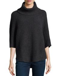 Pull à col roulé en tricot gris foncé