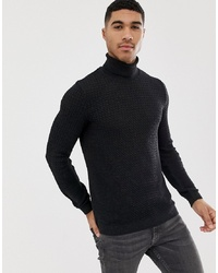 Pull à col roulé en tricot gris foncé ASOS DESIGN