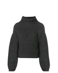 Pull à col roulé en tricot gris foncé Lanvin
