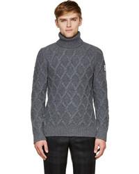 Pull à col roulé en tricot gris foncé Moncler