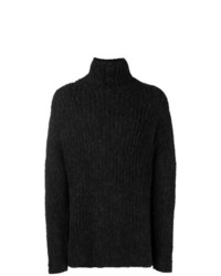Pull à col roulé en tricot gris foncé Yohji Yamamoto
