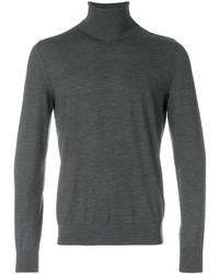 Pull à col roulé en tricot gris foncé Z Zegna