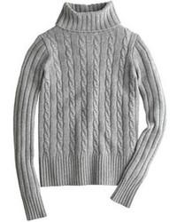 Pull à col roulé en tricot gris