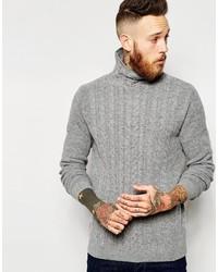 Pull à col roulé en tricot gris Asos