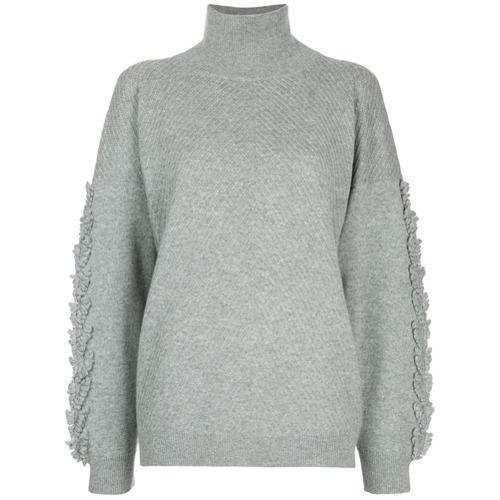 Pull à col roulé en tricot gris Barrie