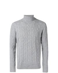 Pull à col roulé en tricot gris Borrelli