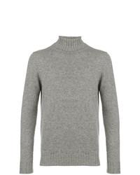 Pull à col roulé en tricot gris Dell'oglio