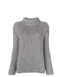 Pull à col roulé en tricot gris Ermanno Scervino