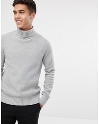 Pull à col roulé en tricot gris Jack & Jones