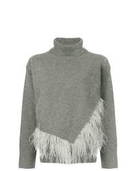 Pull à col roulé en tricot gris Le Ciel Bleu