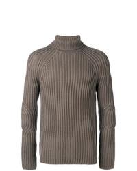Pull à col roulé en tricot gris Neil Barrett