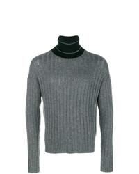 Pull à col roulé en tricot gris Prada