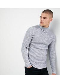 Pull à col roulé en tricot gris Siksilk