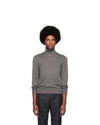 Pull à col roulé en tricot gris Thom Browne