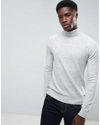 Pull à col roulé en tricot gris Threadbare