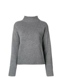 Pull à col roulé en tricot gris Yves Salomon