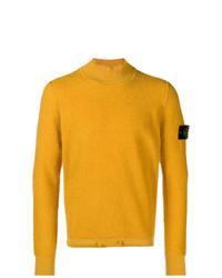 Pull à col roulé en tricot jaune Stone Island