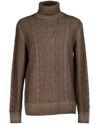 Pull à col roulé en tricot marron