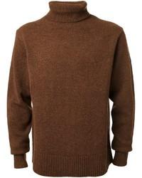 Pull à col roulé en tricot marron CITYSHOP
