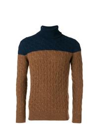 Pull à col roulé en tricot marron Eleventy