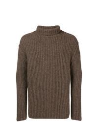 Pull à col roulé en tricot marron Isabel Benenato