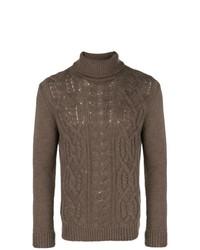 Pull à col roulé en tricot marron Tagliatore