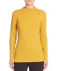 Pull à col roulé en tricot moutarde