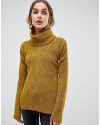 Pull à col roulé en tricot moutarde ASOS WHITE