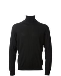 Pull à col roulé en tricot noir Drumohr