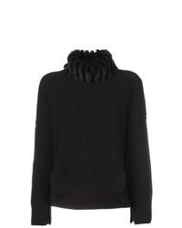 Pull à col roulé en tricot noir Fendi