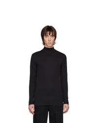 Pull à col roulé en tricot noir Lemaire